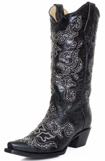 Corral Womens Crystal Inlay Snip Toe Cowboy Boots - Black