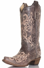 Corral Womens Dahlia Embroidered Boots - Beige