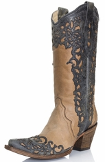 Corral Womens Laser Overlay Boots - Taupe/Black