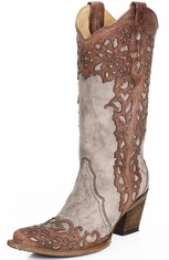 Corral Womens Laser Overlay Cowboy Boots - Cognac/Sand