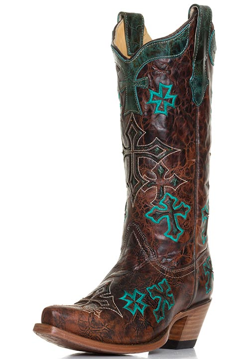 Corral Womens Marble Cross Embroidery Western Cowboy Boots - Whiskey