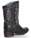Corral Womens Short Embroidery Crackle Boots - Black (Closeout)