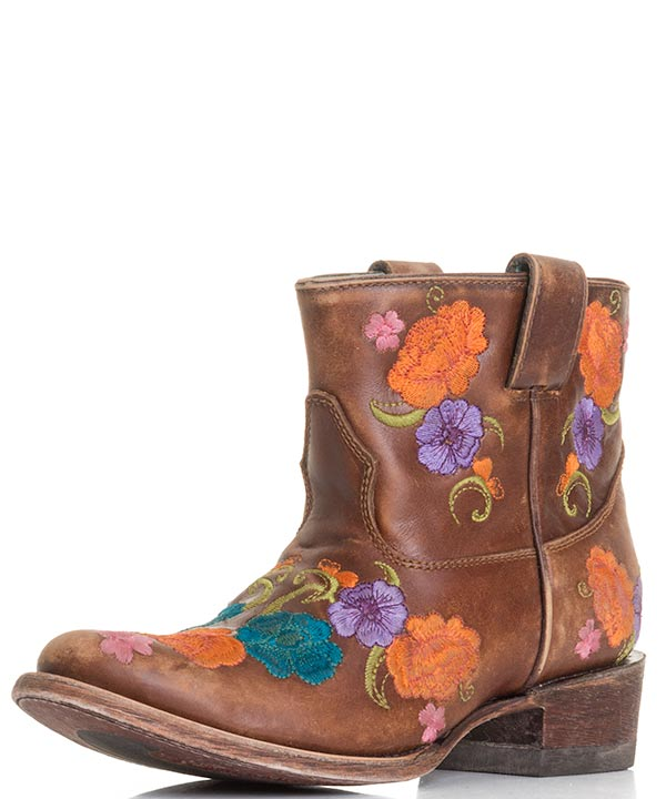 Corral Womens Shorty Multicolor Floral Embroidered Boots