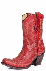 "Corral Womens Snip Toe Fancy Stitch 9"" Cowgirl Boots - Red (Closeout)"
