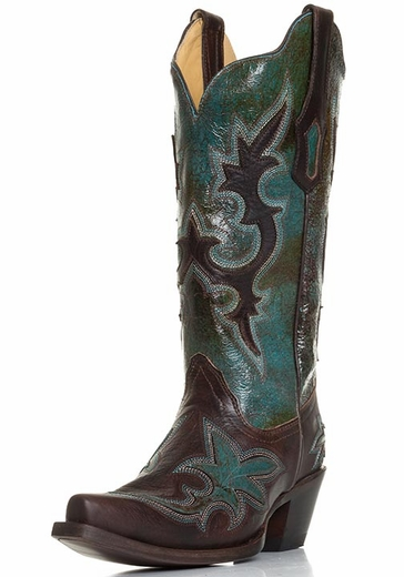 Corral Womens Snip Toe Western Cowboy Boots - Turquoise/Chocolate (Closeout)