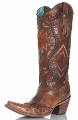 Corral Womens Southwest Tall Top Cowboy Boots - Cognac