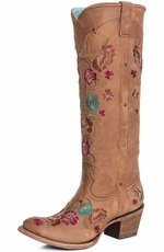 "Corral Womens 15"" Tall Floral Round Toe Cowboy Boots - Honey (Closeout)"