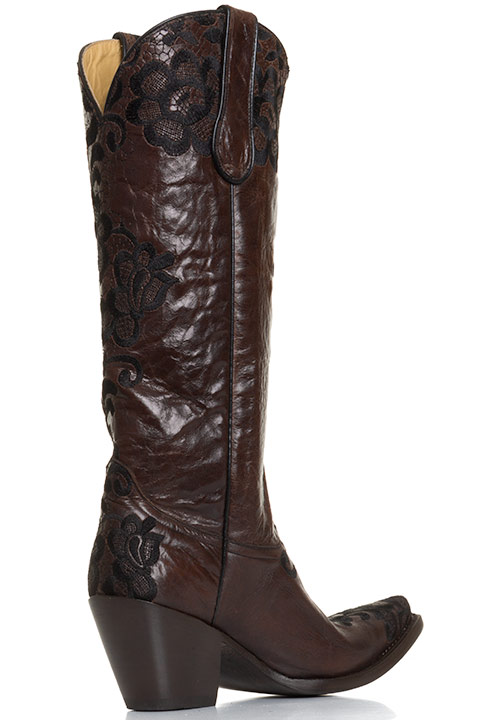 Corral Womens Western Floral Lace Snip Toe Cowboy Boots - Chocolate/Black