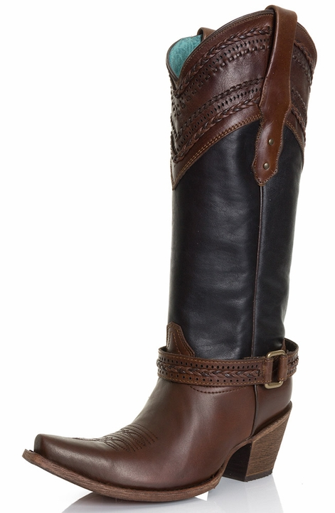 Corral Womens Whip Stitch Cowgirl Boots with Belt - Black/Brown