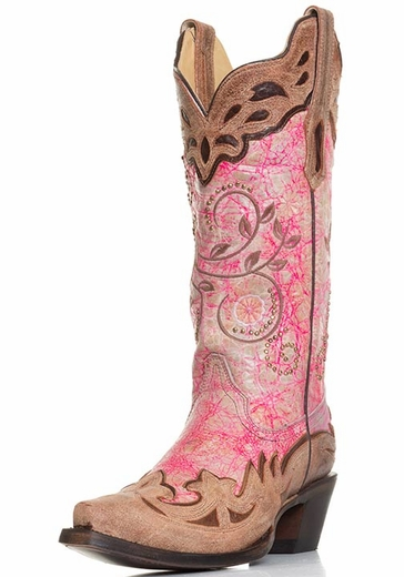 Corral Womens Wing Tip Snip Toe Western Cowboy Boots - Pink/Brown (Closeout)