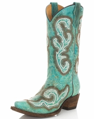 Corral Youth Embroidered Snip Toe Boots - Turquoise