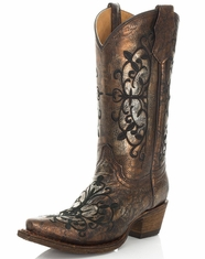 Corral Youth Embroidered Metallic Snip Toe Boots - Bronze