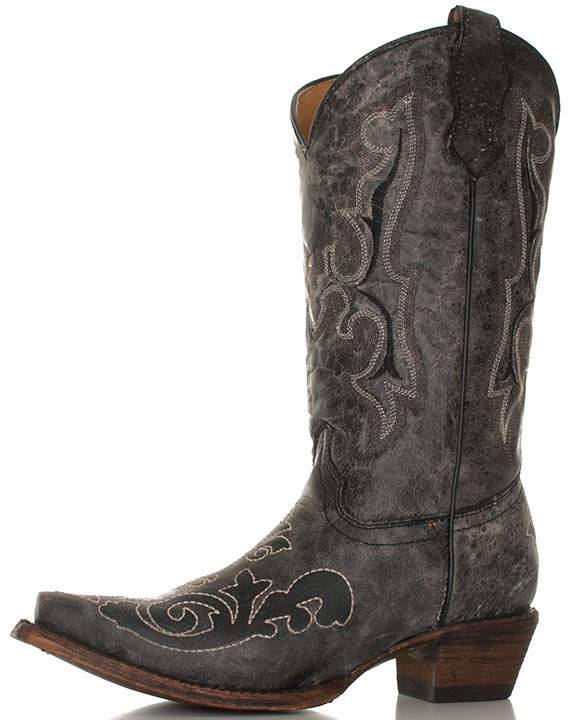 Corral Youth Distressed Black Leather Cowboy Boots with Stitched Overlay Patterns