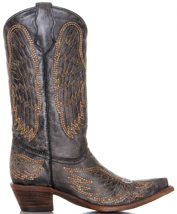 Corral Youth Winged Cross Cowboy Boots - Distressed Black