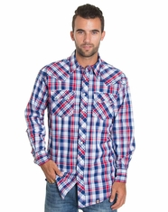 Cowboy Up Men's Long Sleeve Plaid Snap Shirt -Red/Blue (Closeout)