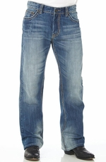Cowboy Up Mens Relaxed Fit Boot Cut Jeans - Light Wash