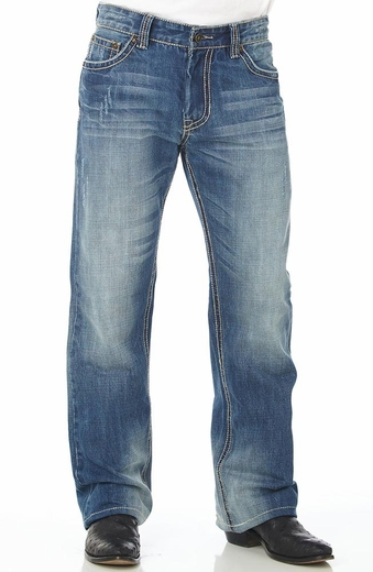 Cowboy Up Mens Relaxed Fit Boot Cut Jeans - Light Wash (Closeout)