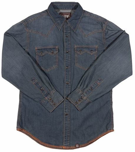 Cowboy Up Mens Long Sleeve Denim Western Shirt (Closeout)