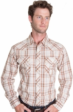 Cowboy Up Mens Long Sleeve Plaid Western Shirt - Khaki