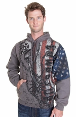 Cowboy Up Mens Old Glory Hoodie - Charcoal