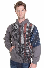 Cowboy Up Mens Old Glory Hoodie - Charcoal (Closeout)