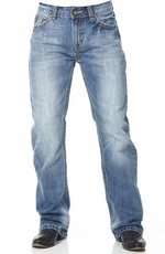 "Cowboy Up Mens ""Trophy"" Relaxed Boot Cut Jeans - Light Stonewash"