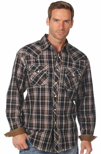Cowboy Up Mens Long Sleeve Plaid Western Shirt - Black/Brown