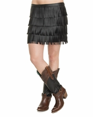Cowgirl Justice Women's Faux Leather Fringe Skirt - Black