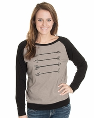 Cowgirl Justice Women's Four Points Raglan Sleeve Top - Ash/Black