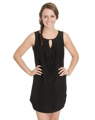 Cowgirl Justice Women's Fringed Keyhole Dress - Black (Closeout)