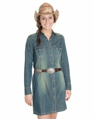 Cowgirl Justice Women's Long Sleeve Ranch Dress - Denim (Closeout)