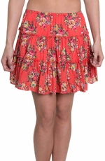 "Cowgirl Justice Women's ""Mimose"" Floral Ruffle Skirt - Orange"