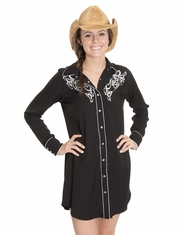 Cowgirl Justice Women's Renegade Embroidered Snap Dress- Black (Closeout)