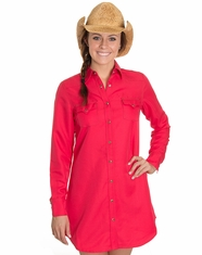 Cowgirl Justice Women's Renegade Soft Snap Dress- Neon Coral