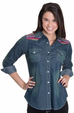 "Cowgirl Justice Women's ""Serape"" Denim Shirt (Closeout)"