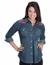 "Cowgirl Justice Women's ""Serape"" Denim Shirt"