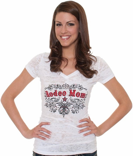 Cowgirl Justice Women's Short Sleeve Burnout Tee Shirt - Rodeo Mom (Closeout)