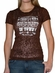 "Cowgirl Justice Women's Short Sleeve Sheer Burnout T-Shirt ""New Sheriff"" (Brown) (Closeout)"