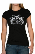"Cowgirl Justice Women's Short Sleeve T-Shirt ""Packin' Iron"" (Black)"