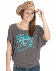 Cowgirl Justice Women's Take Me Away Flowy Dolman Top - Grey