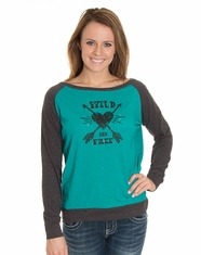 Cowgirl Justice Women's Wild & Free Long Sleeve Tee - Peacock