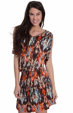 Cowgirl Justice Womens Fuego Cold Shoulder Dress - Orange