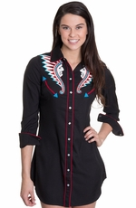"Cowgirl Justice Womens ""Kilaja Indian Headdress"" Shirt Dress - Black"