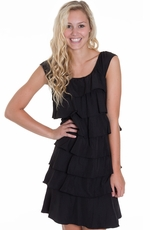 Cowgirl Justice Womens Layered Dress - Black