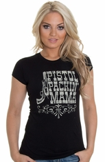 Cowgirl Justice Womens Pistol Packin Mama Couture Top - Black