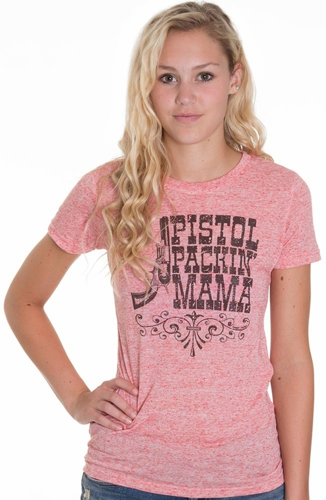 Cowgirl Justice Womens Pistol Packin Mama Tee Shirt - Peach