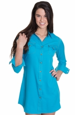 "Cowgirl Justice Womens ""Renegade"" Snap Shirt Dress - Turquoise"