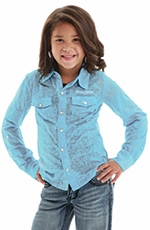 Cowgirl Tuff Girls Barely Burnt Snap Western Shirt - Blue