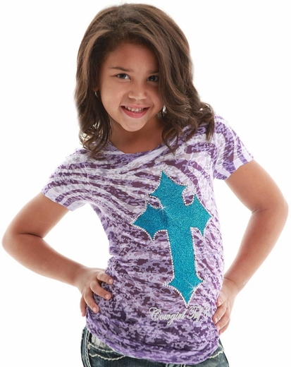 Cowgirl Tuff Girls Zebra Burnout Tee Shirt with Cross - Purple