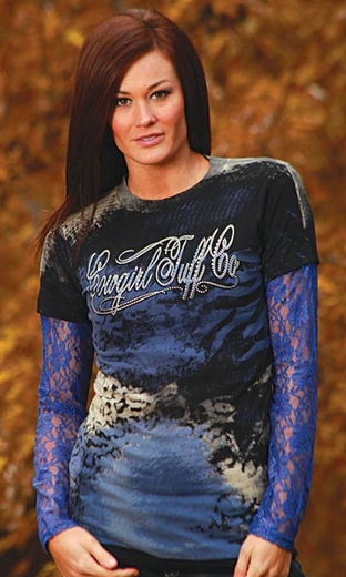 Cowgirl Tuff Women's 2-For-1 Leopard Logo Tee Shirt with Lace Sleeves - Black/ Blue (Closeout)